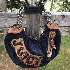 Juicy Couture Velvet Leather Trimmed Shoulder Bag